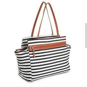 DSW black and white stripe bag